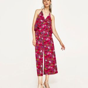 NWOT Zara XS Red Floral Strappy Flounce Romper
